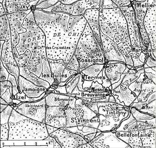 Carte des environs de Rossignol - Source : Chtimiste