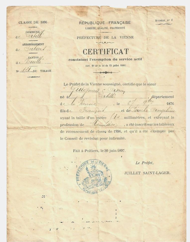 Adrien Guignard - Certificat d'exemption - Archives familiales